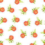 Peachy ranunculus flowers and white background. Peachy ranunculus flowers on white background seamless vector print Stock Image