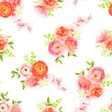 Peachy roses, ranunculus and herbs bouquets seamless vector prin. Peachy roses, ranunculus and exotic herbs bouquets seamless vector print Royalty Free Stock Images