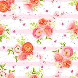 Peachy roses, ranunculus, petals and herbs bouquets striped seam. Peachy roses, ranunculus, petals and exotic herbs bouquets striped seamless vector print Royalty Free Stock Photography