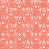 Peachy Tiny Coral Flower Leaf Blooms All Over Print Vector. Peachy Tiny Coral Flower Leaf Blooms. All Over Print Vector. Lacy Floral Seamless Repeating Pattern stock illustration