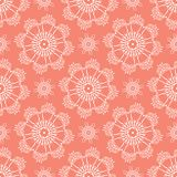 Peachy Tiny Daisy Coral Flower Blooms. All Over Print Vector. Lacy Floral Polka Dot Seamless Repeating Pattern Background. Drawn Ditsy Dotty Fashion Print royalty free illustration