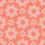 Peachy Tiny Living Coral Flower Blooms. All Over Print Vector. Lacy Floral Polka Dot Seamless Repeating Pattern Background. Drawn Ditsy Dotty Fashion Print royalty free illustration