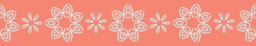 Peachy Tiny Living Coral Flower Blooms. Seamless Border Vector. Lacy Floral Polka Dot Repeating Pattern Banner. Drawn Ditsy Dotty Fashion Print, Wallpaper stock illustration