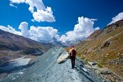 Peack del Cervino - della Svizzera, paesaggio della montagna Immagini Stock