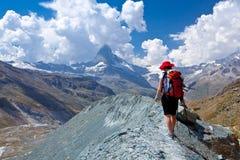 Peack del Cervino - della Svizzera, paesaggio della montagna Immagine Stock