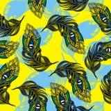 Διανυσματικό άνευ ραφής σχέδιο με το τυποποιημένο φτερό peacock διανυσματική απεικόνιση