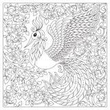 Peacock Ενήλικη αντιαγχωτική χρωματίζοντας σελίδα Στοκ φωτογραφίες με δικαίωμα ελεύθερης χρήσης