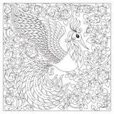 Peacock Ενήλικη αντιαγχωτική χρωματίζοντας σελίδα Στοκ Φωτογραφίες