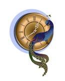 Peacock με το ρολόι Στοκ εικόνα με δικαίωμα ελεύθερης χρήσης