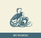 Peacock. Design element in art nouveau style Stock Photography