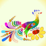 Peacock. Beautiful peacock vector in oldest style Stock Photos
