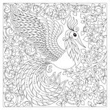 Peacock. Adult antistress coloring page. Stock Photos