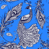 Peacock bird feathers seamless background pattern Stock Photography