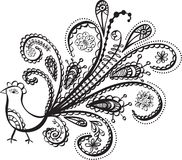 Peacock bird line art Royalty Free Stock Image