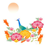 Peacock with colorful flower patterns Royalty Free Stock Photos