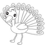 Peacock Coloring Page Royalty Free Stock Photos