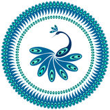 Peacock. Decorative pattern for plate. Stock Photo