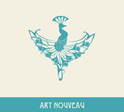 Peacock. Design element in art nouveau style Royalty Free Stock Images