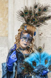 Peacock Disguised Woman - Venice Carnival 2014 Stock Photo