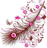 Peacock Feather with Flowers, Butterflies and Hearts vector illustration
