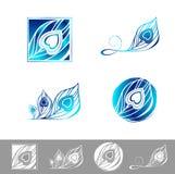 Peacock Feather Logo Design Set Stock Image