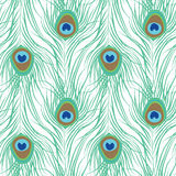 Peacock feather seamless pattern vector illustration