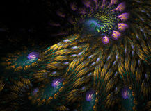 Peacock feathers fractal. Here is a vibrant swirled fractal that strongly resembles peacock feathers Stock Photo