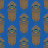 Peacock feathers, seamless vector pattern Royalty Free Stock Images