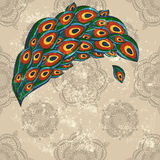 Peacock feathers on  seamless wallpaper Stock Photo