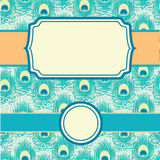 Peacock feathers set of frames seamless pattern Royalty Free Stock Photo