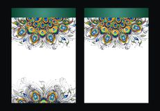 Peacock feathers, vector design of cover Stock Images