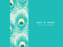 Peacock feathers vector frame horizontal seamless Royalty Free Stock Images