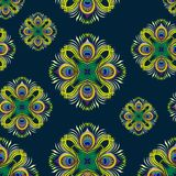 Peacock feathers vector seamless pattern Stock Image
