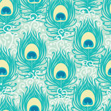 Peacock feathers vector seamless pattern stock illustration