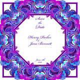 Peacock feathers wedding background. Printable vector frame illustration. Royalty Free Stock Photography