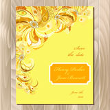 Peacock feathers wedding card. Printable vector background illustration. Royalty Free Stock Photos