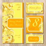 Peacock Feathers wedding card set. Printable Vector illustration Royalty Free Stock Photos