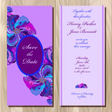 Peacock feathers wedding invitation card. Printable Vector illustration Royalty Free Stock Photos