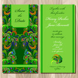 Peacock Feathers wedding invitation card. Printable Vector illustration. Stock Photography