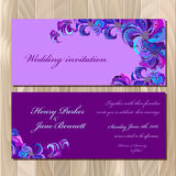 Peacock feathers wedding invitation card. Printable Vector illustration Royalty Free Stock Photo