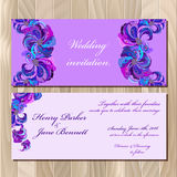Peacock Feathers wedding invitation card. Printable Vector illustration Royalty Free Stock Photography