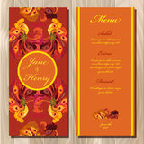 Peacock feathers wedding menu card. Printable Vector illustration Royalty Free Stock Image
