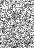 Peacock and floral garden coloring page Royalty Free Stock Photography