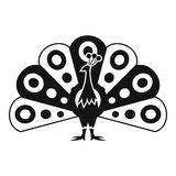 Peacock with flowing tail icon, simple style Stock Images