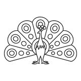 Peacock icon, outline style Royalty Free Stock Image