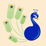 Peacock. Illustration of a blue peacock with green plumes Stock Images