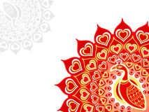 Peacock love card. Horizontal over white background Stock Image