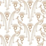 Peacock minimal style seamless vector pattern. Gold line bird with clover flowers repeat elegant texture for print Royalty Free Stock Photos