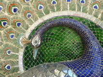 Peacock mosaic. Peacock made from thousands of pieces of glass, in the City Palace, Udaipur Stock Photos