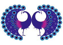 Peacock motif. Design of symmetry motif based on the bird peacock Royalty Free Stock Photo